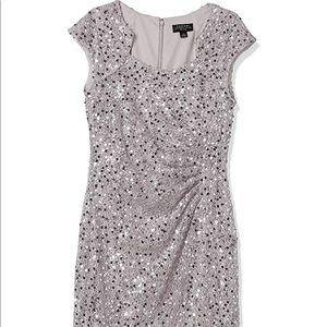 Tahari side ruched notch neck dress silver sz 18W